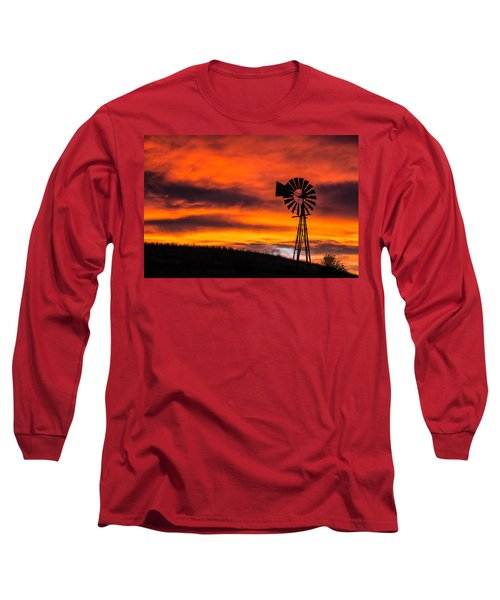 Cobblestone Windmill At Sunset Long Sleeve T-Shirt