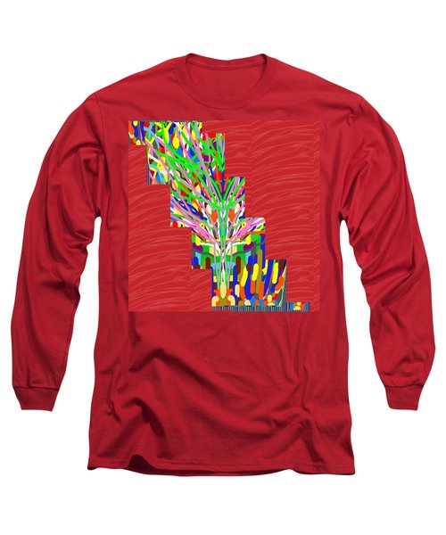 Long Sleeve T-Shirt featuring the photograph Colorful Tree Of Life Abstract Red Sparkle Base by Navin Joshi