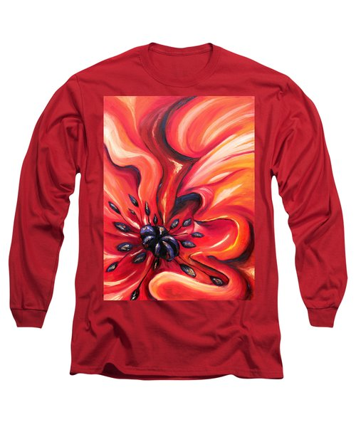 Long Sleeve T-Shirt featuring the painting Consuming Fire by Meaghan Troup