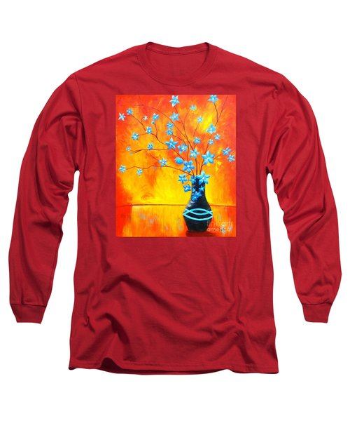Cool Blue On Fire Long Sleeve T-Shirt