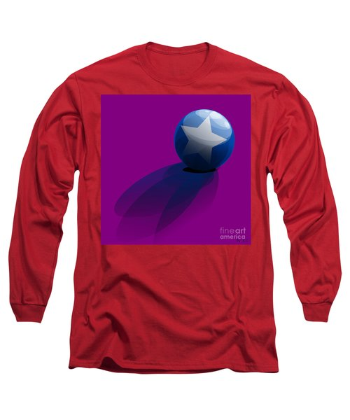 Long Sleeve T-Shirt featuring the digital art Blue Ball Decorated With Star Purple Background by R Muirhead Art