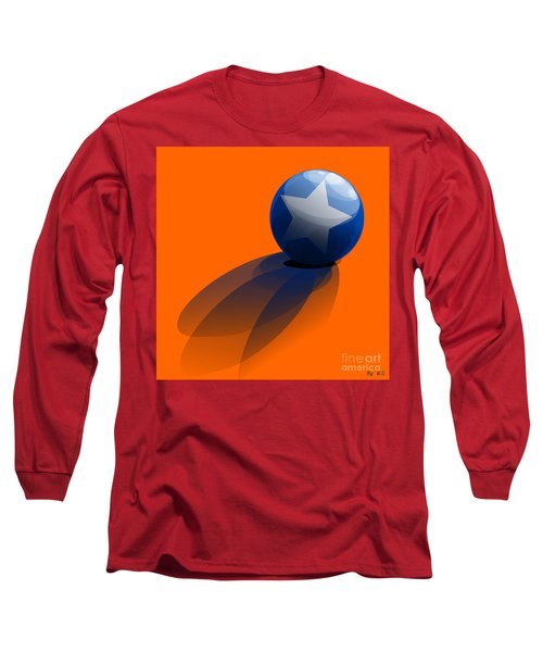 Long Sleeve T-Shirt featuring the digital art Blue Ball Decorated With Star Orange Background by R Muirhead Art
