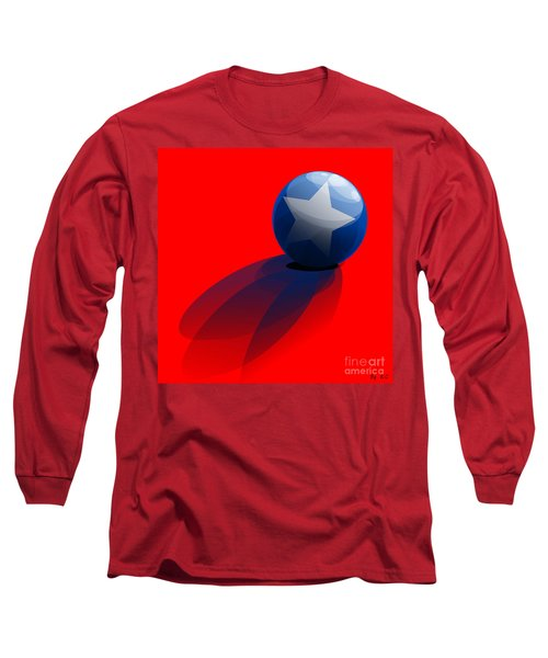 Long Sleeve T-Shirt featuring the digital art Blue Ball Decorated With Star Red Background by R Muirhead Art