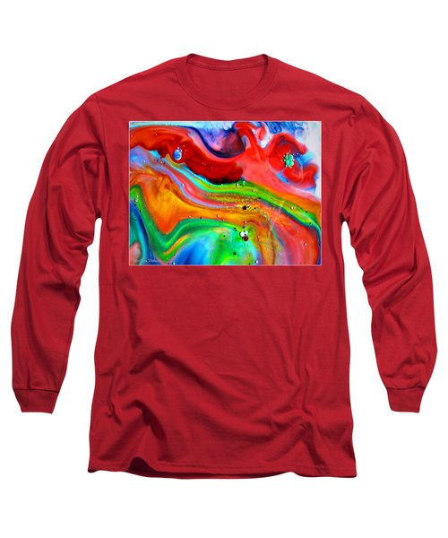 Long Sleeve T-Shirt featuring the painting Cosmic Lights by Joyce Dickens
