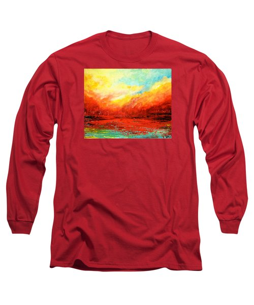 Crimson No.2 Long Sleeve T-Shirt by Teresa Wegrzyn