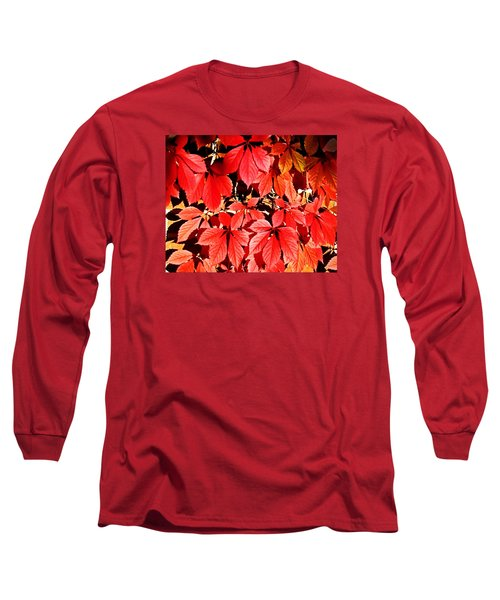 Crimson Virginia Creeper 2 Long Sleeve T-Shirt by Danielle  Parent