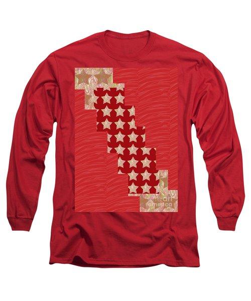 Cross Through Sparkle Stars On Red Silken Base Long Sleeve T-Shirt