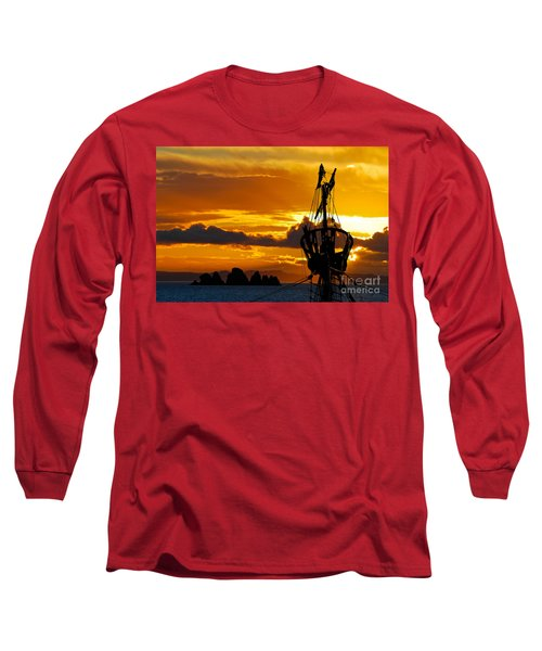 Crows Nest Silhouette On Newfoundland Coast Long Sleeve T-Shirt