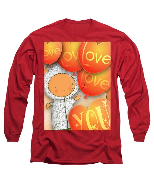 Long Sleeve T-Shirt featuring the photograph Cute Teddy With Lots Of Love Balloons by Lenny Carter