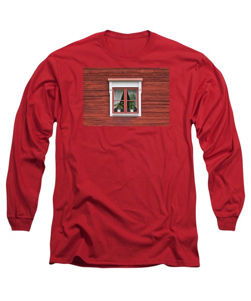 Cute Window On Red Wall Long Sleeve T-Shirt