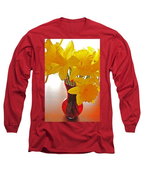 Long Sleeve T-Shirt featuring the photograph Daffodils In Red Vase by Diane Alexander