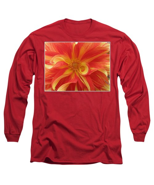 Dahlia Unfurling In Yellow And Red Long Sleeve T-Shirt by Dora Sofia Caputo Photographic Art and Design