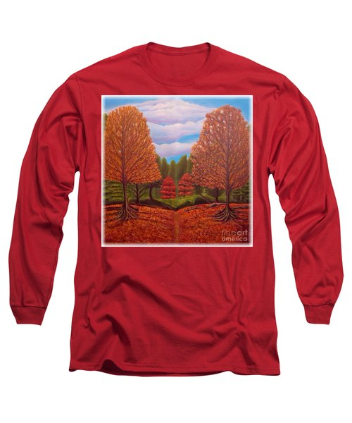 Dance Of Autumn Gold With Blue Skies Revised Long Sleeve T-Shirt by Kimberlee Baxter