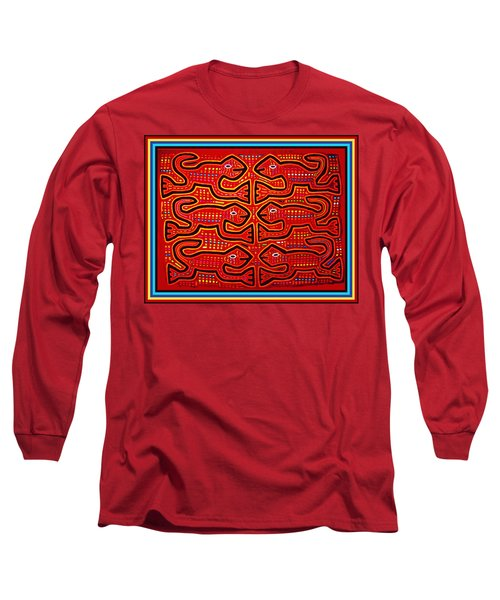 Long Sleeve T-Shirt featuring the digital art Dancing Geckos by Vagabond Folk Art - Virginia Vivier