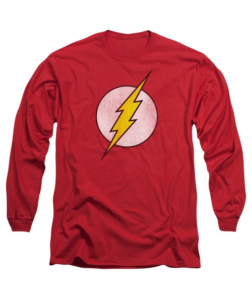 Dc - Flash Logo Distressed Long Sleeve T-Shirt