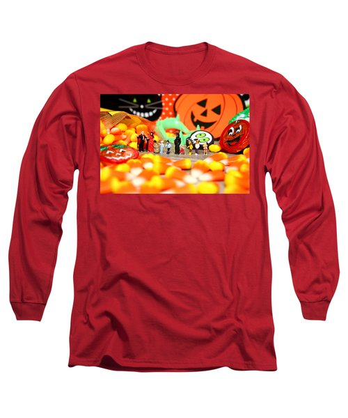 Death Takes His Kids Trick Or Treating Long Sleeve T-Shirt by Lon Casler Bixby