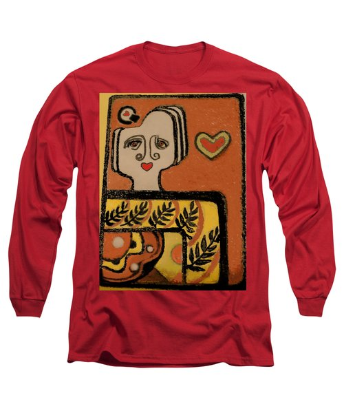 Long Sleeve T-Shirt featuring the painting Deco Queen Of Hearts by Carol Jacobs