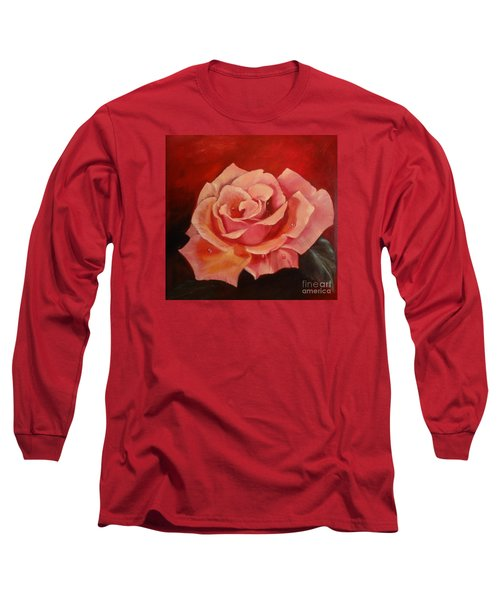 Long Sleeve T-Shirt featuring the painting Dew Drops On Pink Rose by Jenny Lee