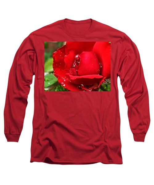 Dew Drops On Red Long Sleeve T-Shirt