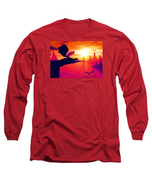 Long Sleeve T-Shirt featuring the painting Awesome Dragon by David Mckinney