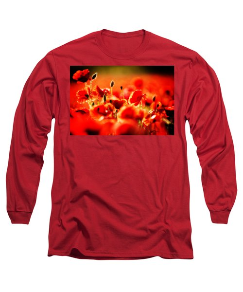 Dreaming Of Poppies Long Sleeve T-Shirt by Meirion Matthias