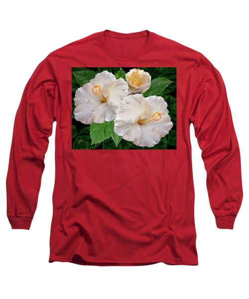 Dreamy Blooms - White Hibiscus Long Sleeve T-Shirt