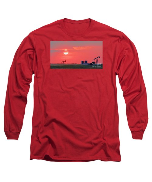 Long Sleeve T-Shirt featuring the photograph Rising Full Moon In Oklahoma by Janette Boyd