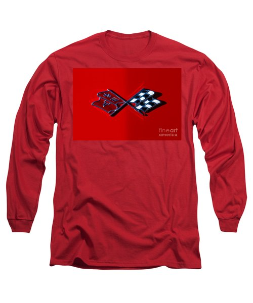 Early C3 Corvette Emblem Red Long Sleeve T-Shirt by Dennis Hedberg