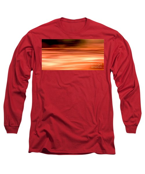Long Sleeve T-Shirt featuring the digital art Abstract Earth Motion Burnt Orange by Linsey Williams