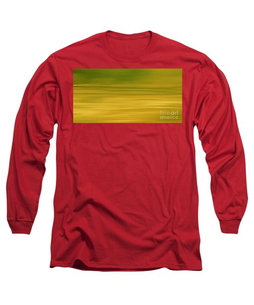Long Sleeve T-Shirt featuring the digital art Abstract Earth Motion Lemon Grass by Linsey Williams