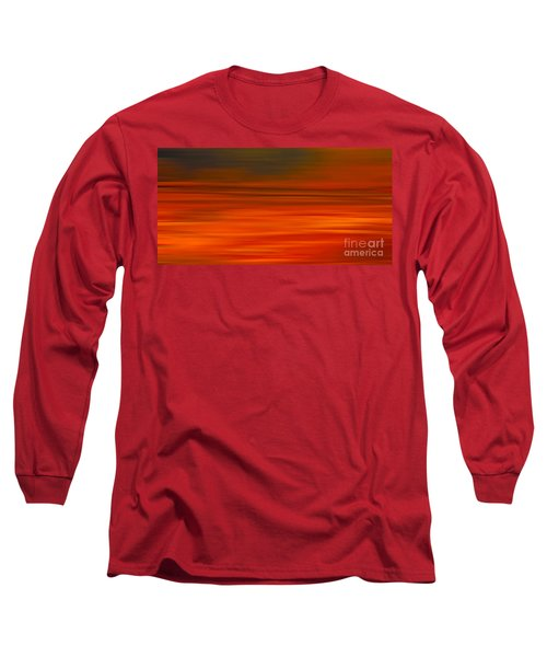 Long Sleeve T-Shirt featuring the digital art Abstract Earth Motion Sun Burnt by Linsey Williams