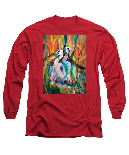 Egrets In Red 2            Long Sleeve T-Shirt by Kathy Braud