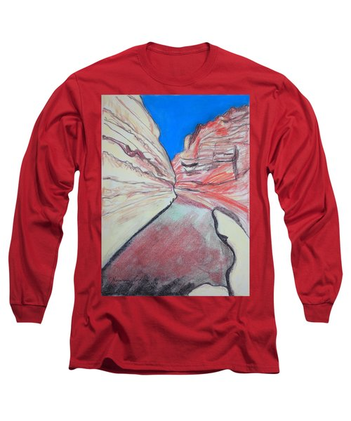 Long Sleeve T-Shirt featuring the drawing Ein Avdat  by Esther Newman-Cohen