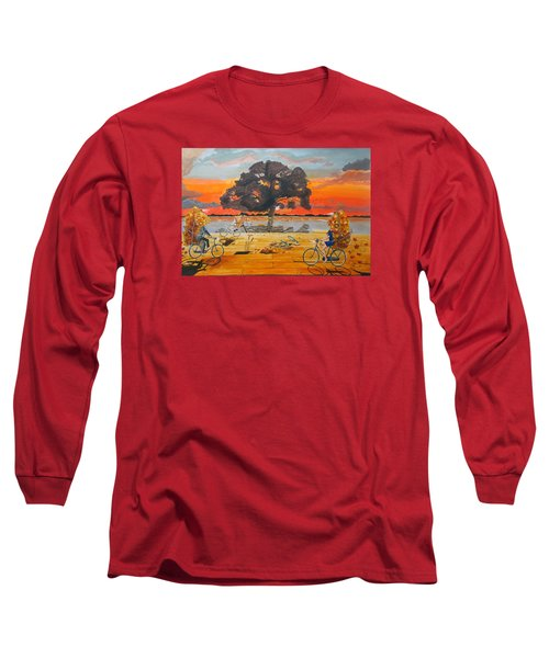 Long Sleeve T-Shirt featuring the painting End Of Season Habits Listen With Music Of The Description Box by Lazaro Hurtado