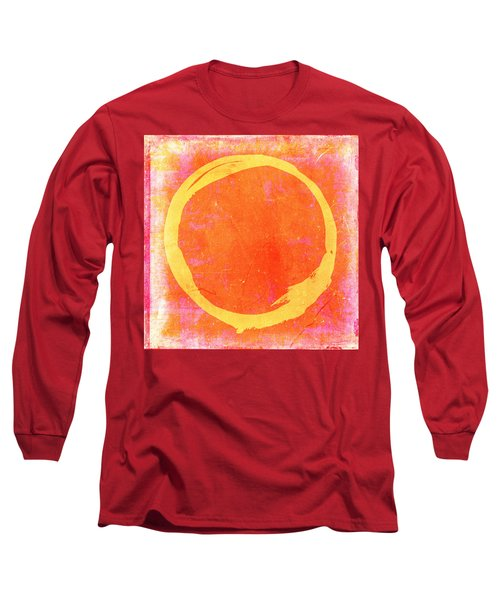 Enso No. 109 Yellow On Pink And Orange Long Sleeve T-Shirt