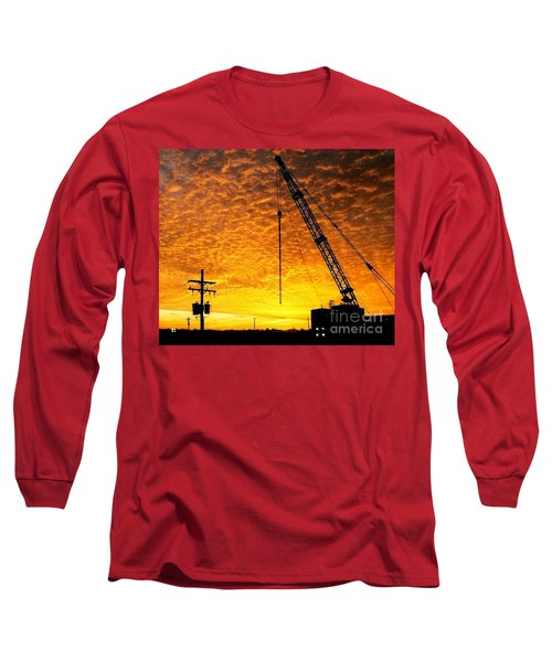 Erecting A Sunset In Beaumont Texas Long Sleeve T-Shirt