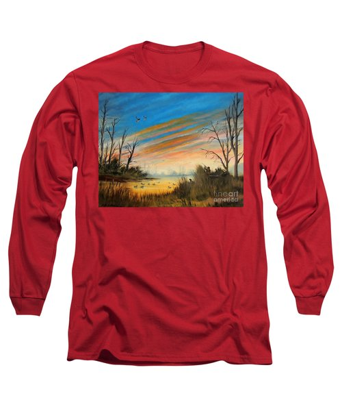 Evening Duck Hunt Long Sleeve T-Shirt by Bill Holkham
