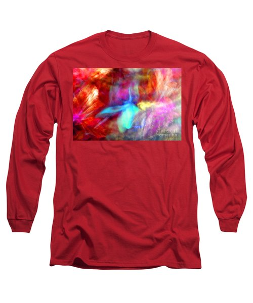 Falling Petal Abstract Red Magenta And Blue B Long Sleeve T-Shirt