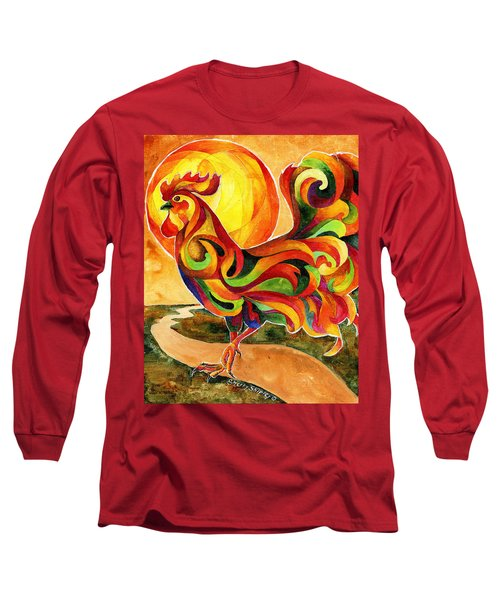 Fancy Feathers Rooster Long Sleeve T-Shirt by Sherry Shipley