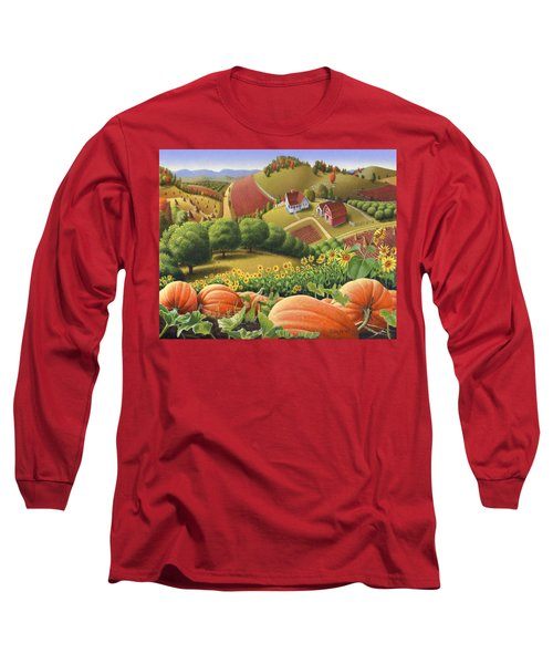 Farm Landscape - Autumn Rural Country Pumpkins Folk Art - Appalachian Americana - Fall Pumpkin Patch Long Sleeve T-Shirt