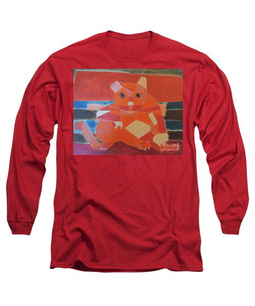 Long Sleeve T-Shirt featuring the painting Fat Cat On A Hot Chaise Lounge by Richard W Linford