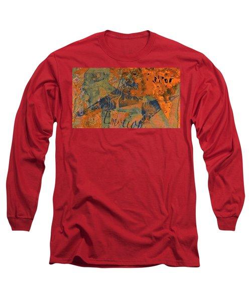 Feel Emotion Orange And Green Long Sleeve T-Shirt by Deprise Brescia