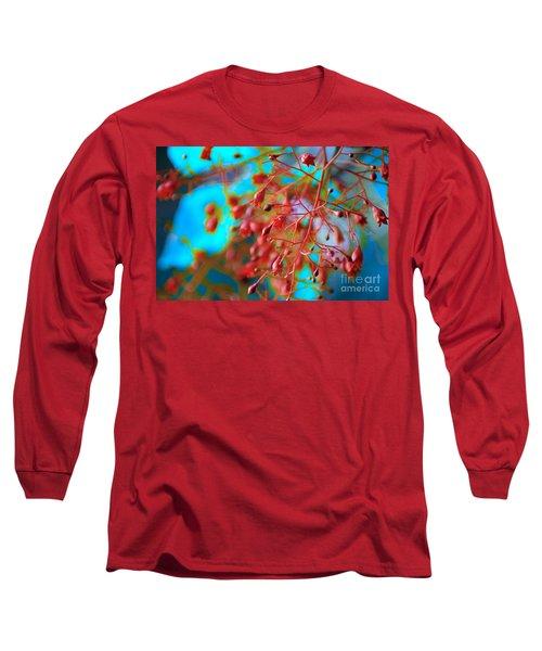 Fiery Red Clusters - Illawarra Flame Tree Long Sleeve T-Shirt by Kerryn Madsen-Pietsch