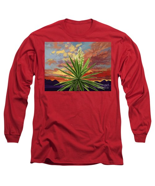 Fire Sky Desert Blooming Yucca Long Sleeve T-Shirt by Tim Gilliland
