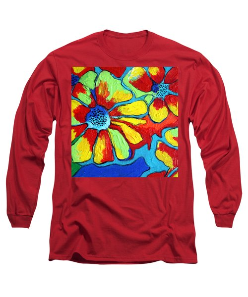 Long Sleeve T-Shirt featuring the painting Floating Flowers by Alison Caltrider