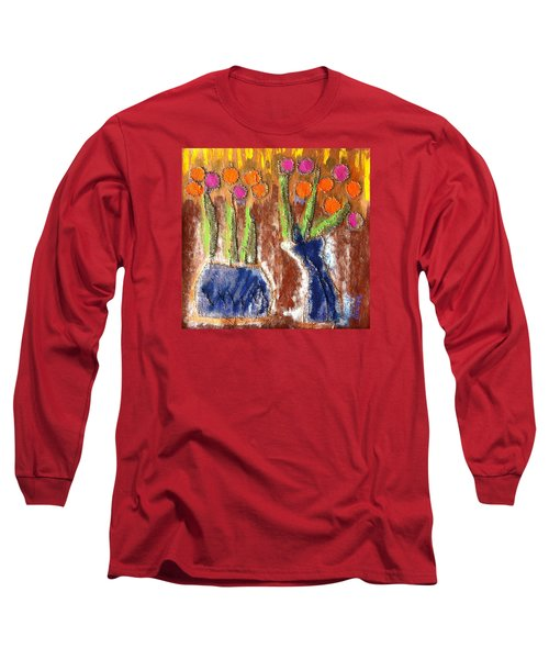 Long Sleeve T-Shirt featuring the painting Floral Puffs by Cleaster Cotton