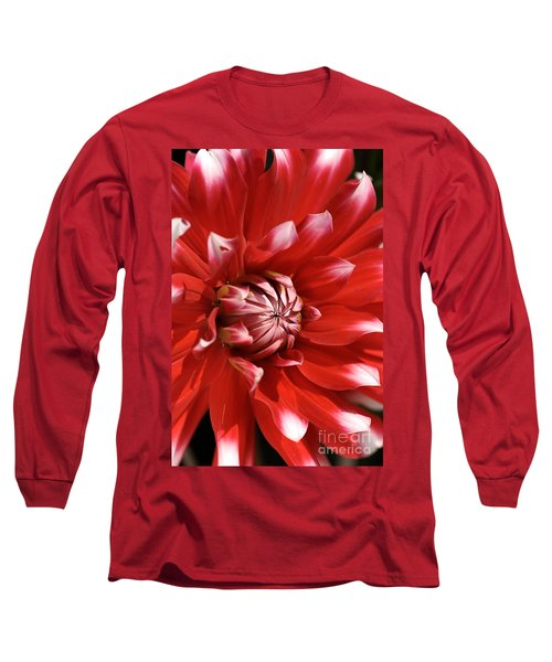 Flower- Dahlia-red-white Long Sleeve T-Shirt
