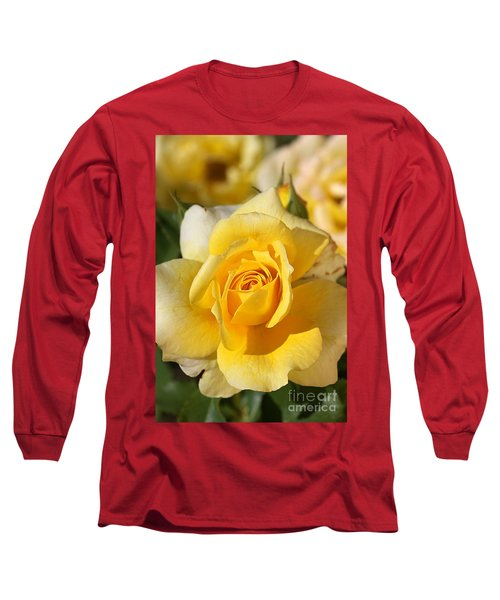 Flower-yellow Rose-delight Long Sleeve T-Shirt by Joy Watson