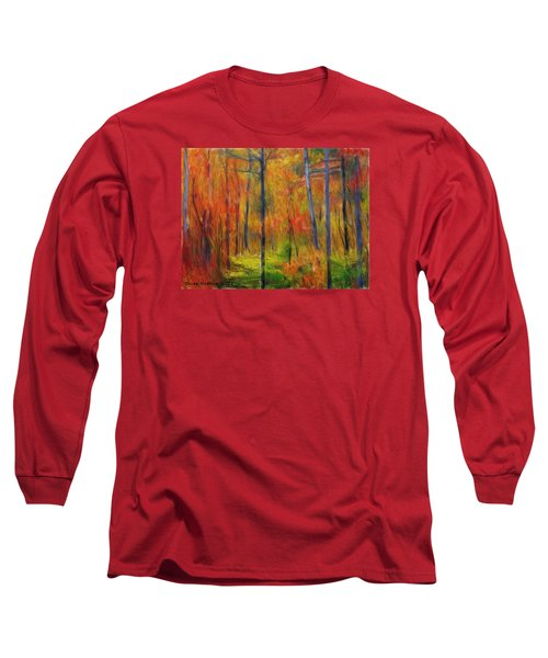 Long Sleeve T-Shirt featuring the painting Forest In The Fall by Bruce Nutting