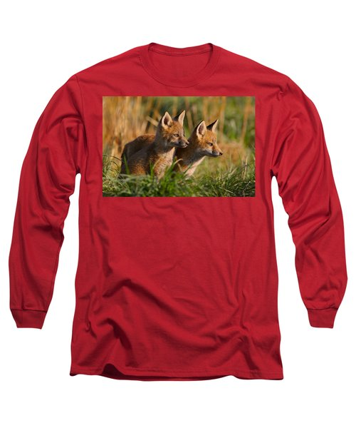 Fox Cubs At Sunrise Long Sleeve T-Shirt